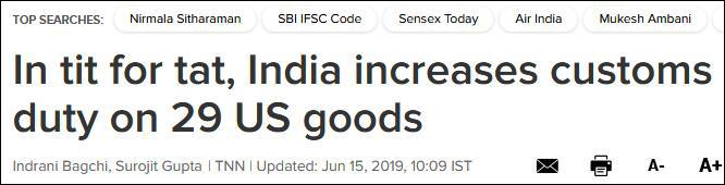 印度将对美国29种产品征收报复性关税,最高达120%