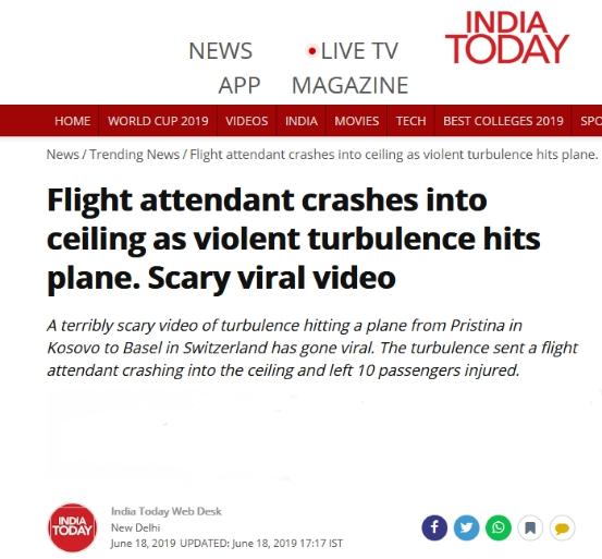 波音飞机遇强气流,空乘和饮料车撞向天花板