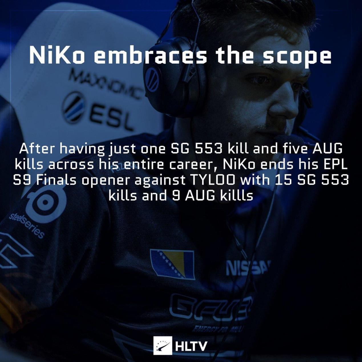 CSGO:真香变真惨,Niko职业生涯首次尝试Aug,但第二天就削弱