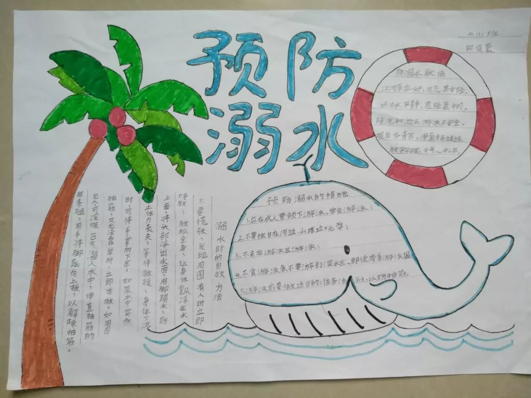 手抄报这一载体对全校学生进行一场深刻的防溺水教育,提高学生安全