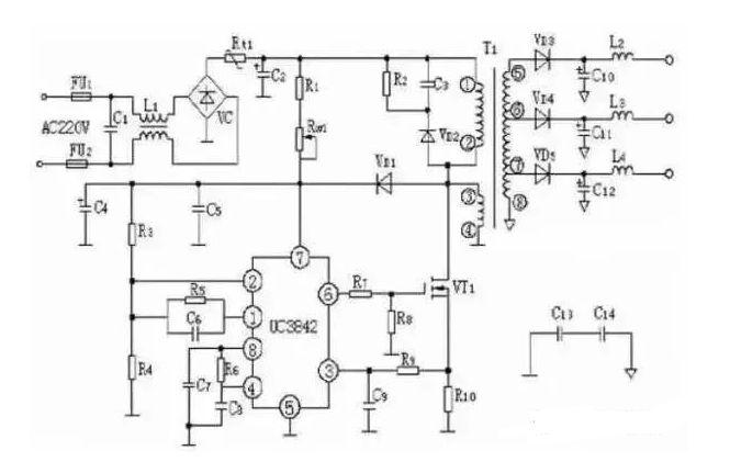 2、TOP224P构成的12V、20W开关直流稳压电源电路 由TOP224P构成的 12V、20W开关直流稳压电源电路如图所示。 电路中使用两片集成电路:TOP224P型三端单片开关电源(IC1),PC817A型线性光耦合器 (IC2)。交流电源经过UR和Cl整流滤波后产生直流高压Ui,给高频变压器T的一次绕组供电。 VDz1和VD1能将漏感产生的尖峰电压钳位到安全值, 并能衰减振铃电压。VDz1采用反向击穿电压为200V的P6KE200型瞬态电压抑制器,VDl选用1A/600V的UF4005型超快恢复