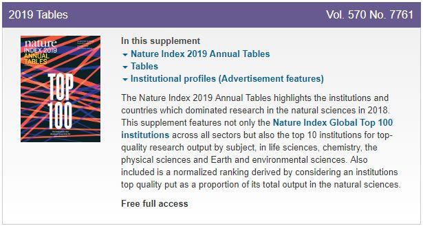 重磅!2019 自然指数年度榜单公布,中科院继续绝对领先,17 所国内大学和机构挺进全球前 100 名