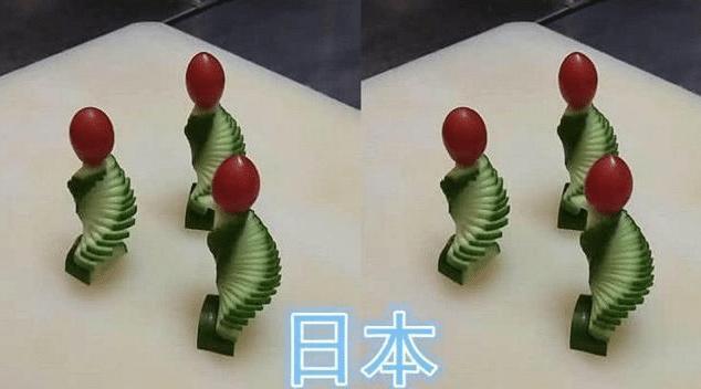 [各国厨师比赛雕黄瓜,韩国雕成金字塔,中国最神似] 厨师切黄瓜
