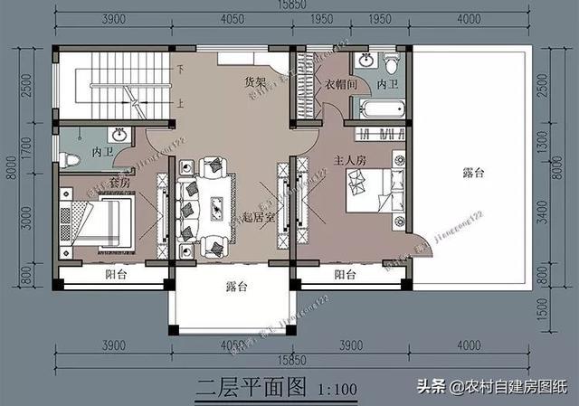 16×8米3款农村别墅设计,建二层当三层用,第3款还有烤火间