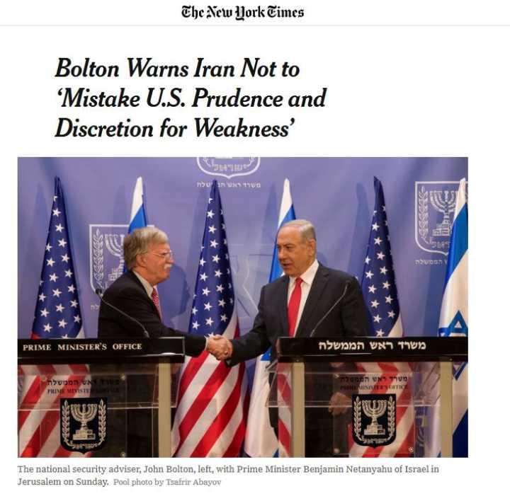 博尔顿警告伊朗:别把美国的谨慎误作软弱
