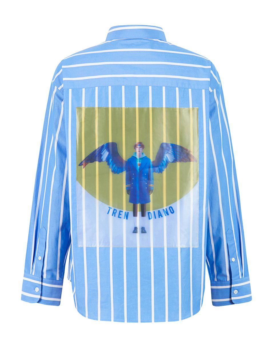 时尚 正文  蓝色9分袖衬衫丨3zc2016290 蓝色pvc印花衬衫丨3zc1011210