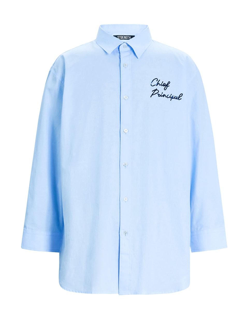蓝色9分袖衬衫丨3zc2016290 蓝色pvc印花衬衫丨3zc1011210 欧时力