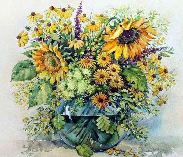 种花养花水彩画花