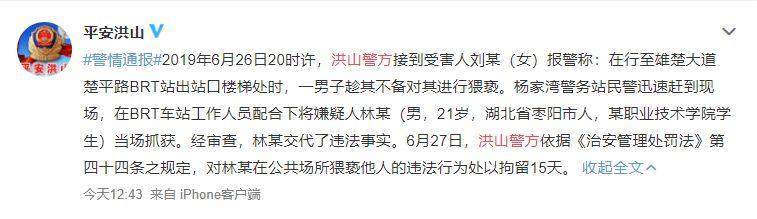 武汉丨职校男学生地下通道内猥亵女乘客被拘15天,手机里还发现很多不雅视频(图4)