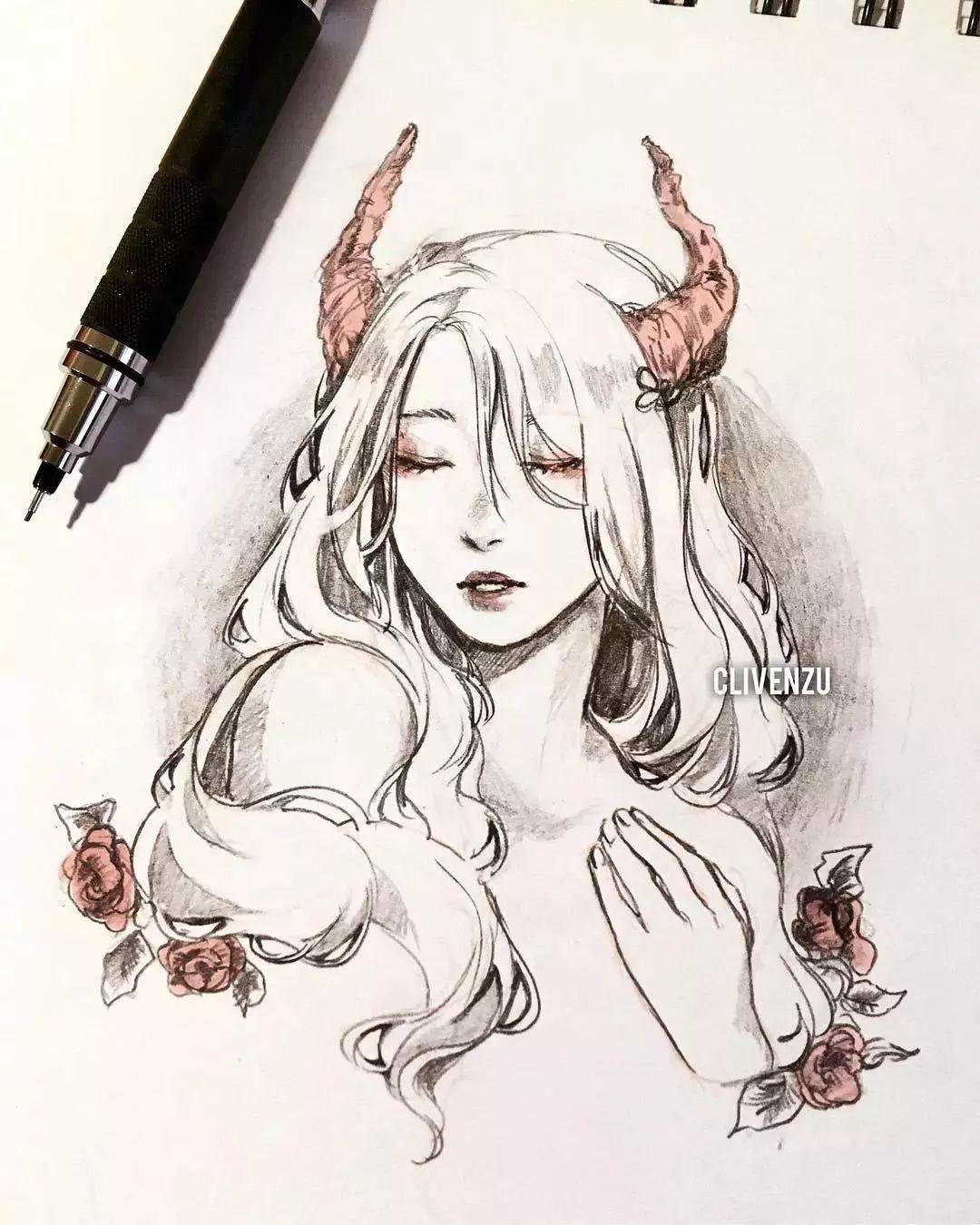 铅笔画的动漫素描少女,元气满满,每个人物都很有气质!