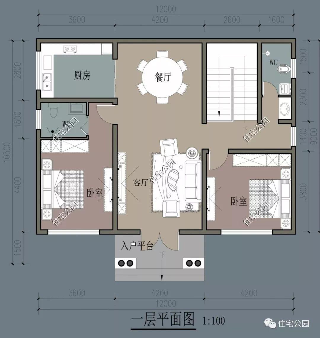 10×12米优雅法式住宅,占地120平,农村小宅地也能建图片
