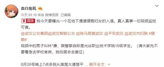 武汉丨职校男学生地下通道内猥亵女