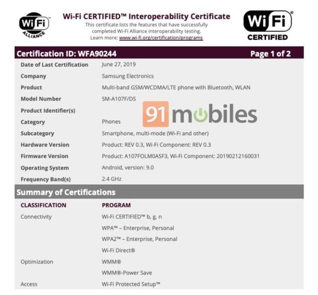 三星Galaxy A10s通过WiFi认证 或近期发布