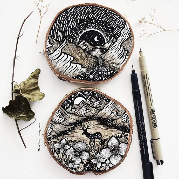 diy课堂 丨手绘 木片:在自然的造物上描绘大自然!