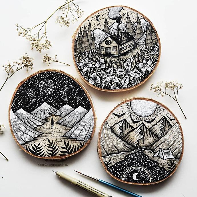meni的作品深受大自然的启发,她喜欢画花花草草,小动物,森林,星空
