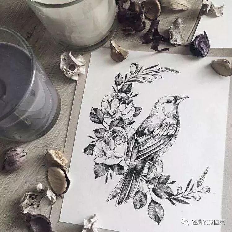 动物与素花纹身图片