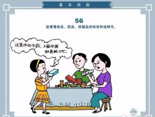 <b>【公民健康素养】56、能看懂食品、药品、保健品的标签和说明书</b>