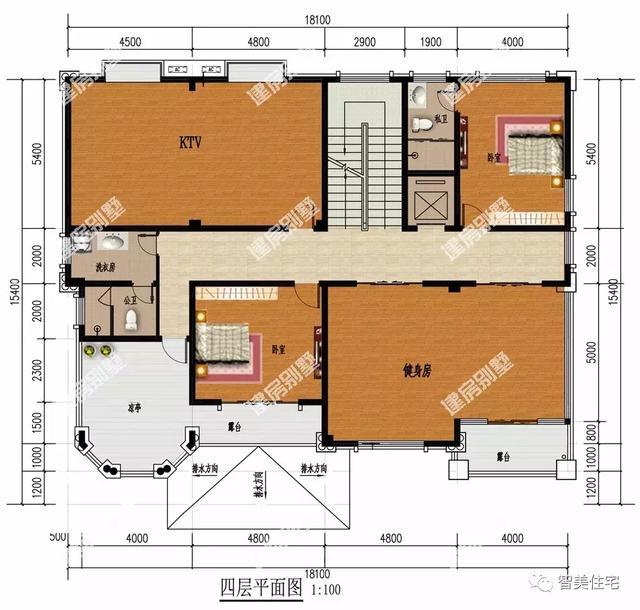 四层平面图:配有2间卧室备用,家庭式ktv,健身房,室外设观景露台和凉亭