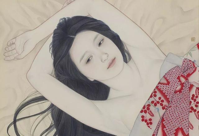 岛国美女画家用工笔画出唯美的女性人体作品
