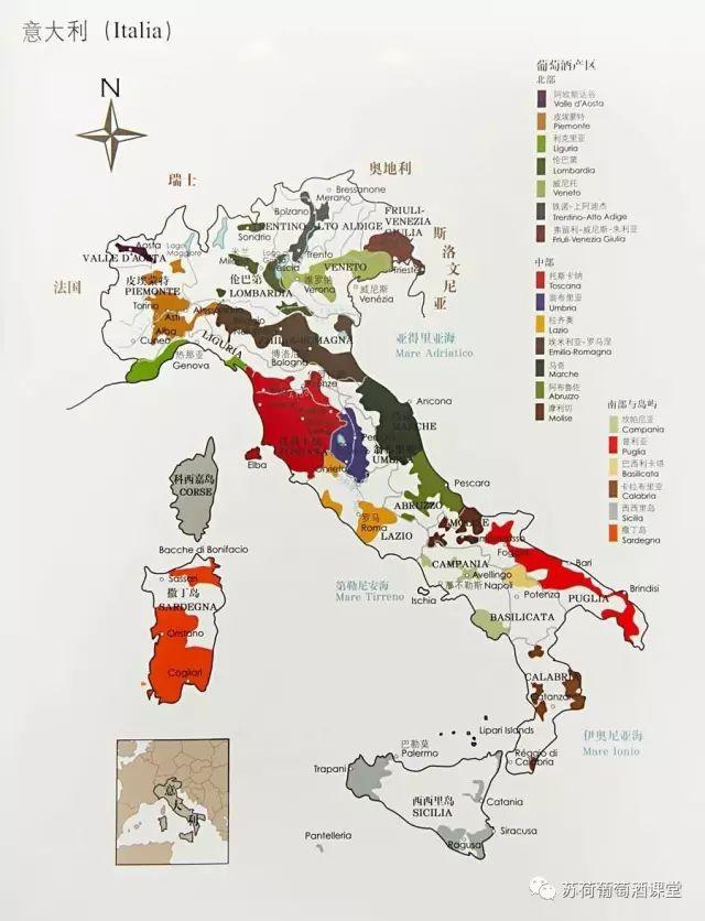 【意大利葡萄酒地图 来源:网络】图片