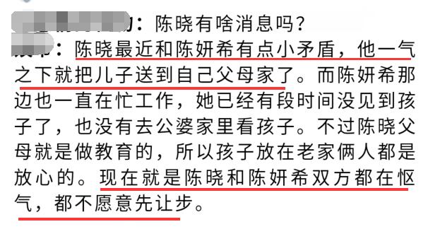 网曝陈晓与陈妍希闹矛盾,儿子送父母照顾,夫妻俩怄气不让步 作者: 来源:芒果捞娱乐学妹