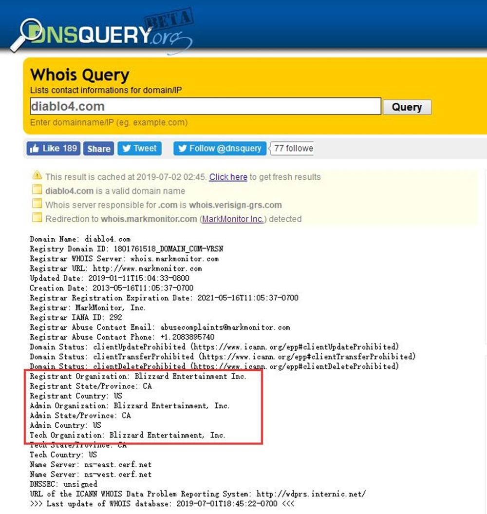 """恢復持有""""diablo4.com""""域名 暴雪《暗黑4》真的會來嗎?_演示"""