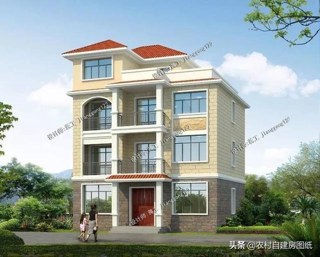 4款三层半别墅设计图,第3款面积最小却最豪,建回农村很气派