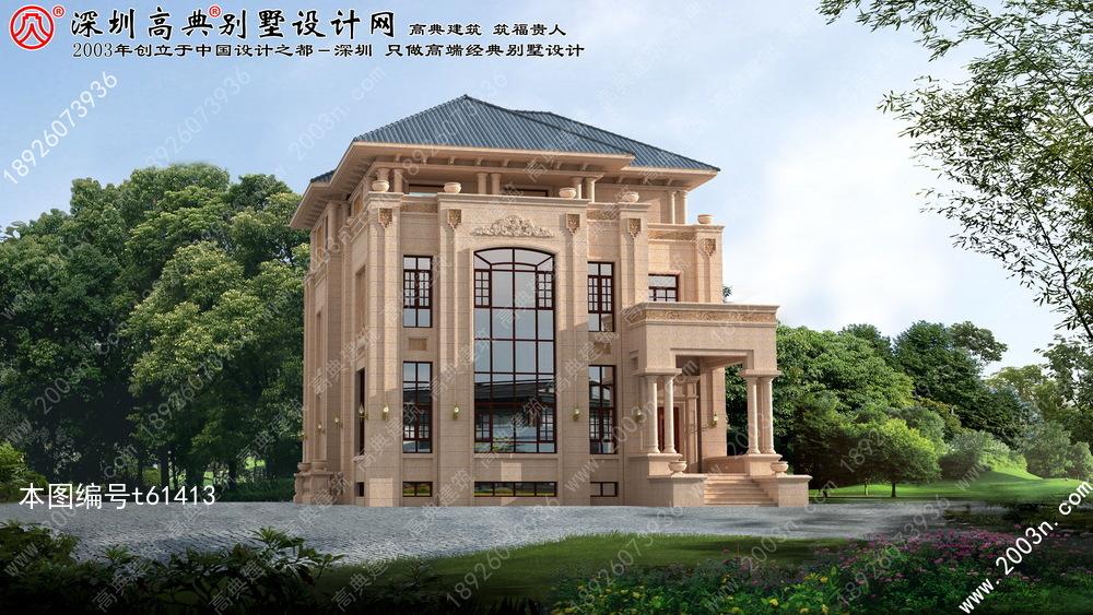 61413号别墅设计图纸规格介绍:   建筑面积:927.16平方米   欧式别墅外观设计, 三层别墅设计效果图
