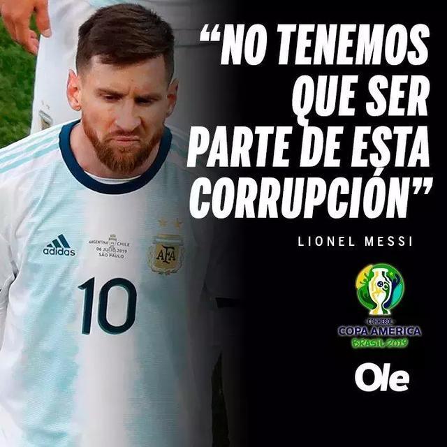 梅西再次抨击美洲杯!红牌是被算账了!秘鲁好好踢完吧_比赛