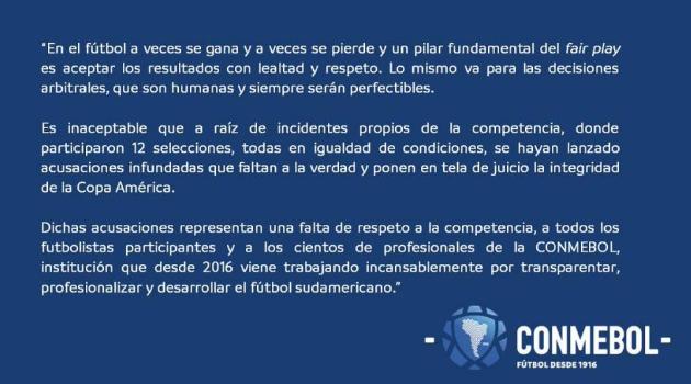 南美足协声明:梅西指控毫无根据 需尊重比赛结果