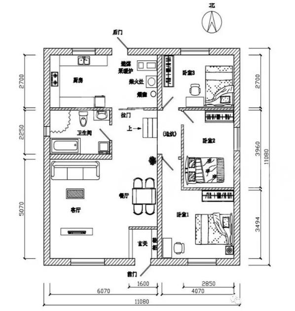 农村10万元一层小别墅,新农村传统瓦房土炕房图片