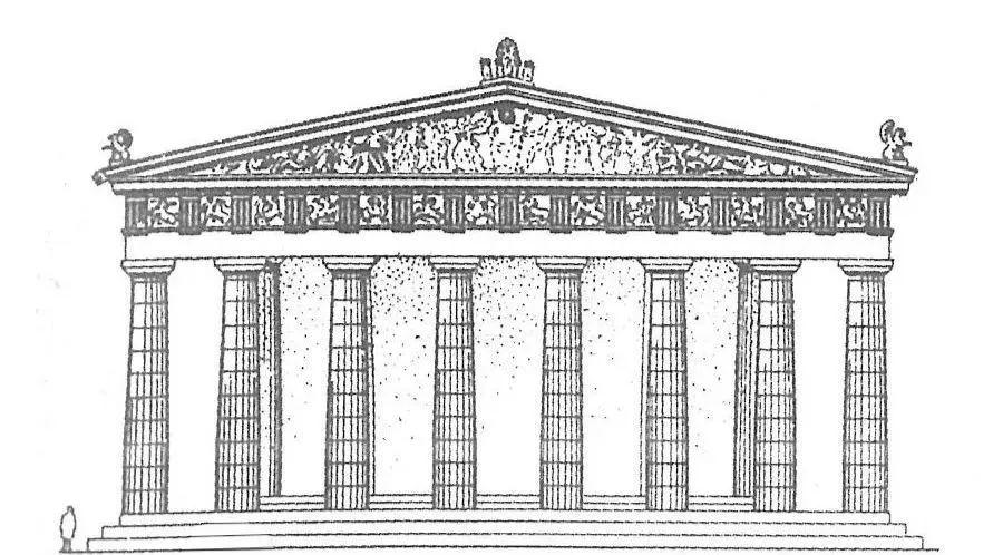 帕提农神庙立面图高清