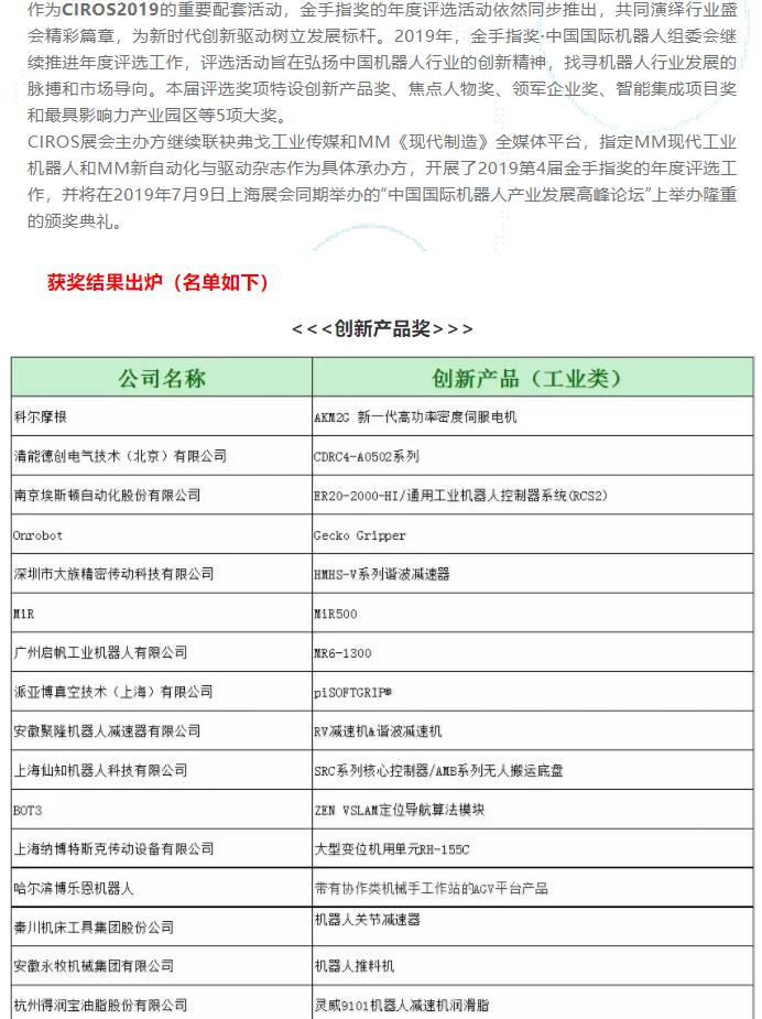 金手指奖?2019年中国国际机器人年度评选结果新鲜出炉