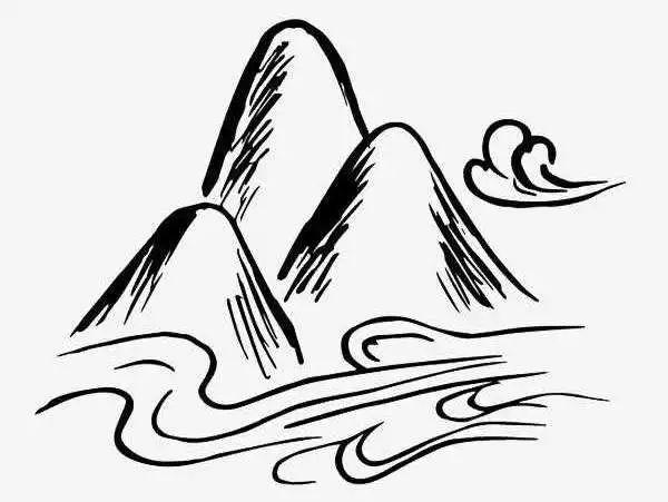 手绘山和云简笔画
