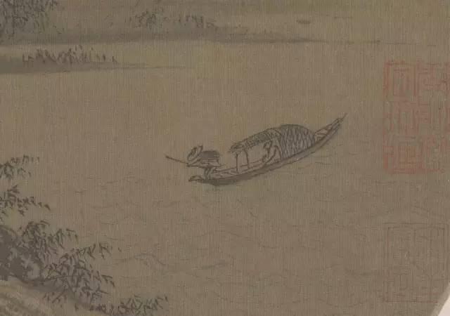 """董源 潇湘图_""""一叶扁舟"""",在名画中静静的漂荡着_局部"""
