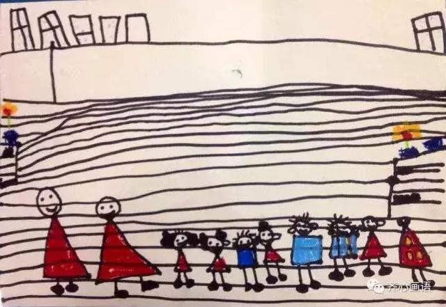 這張畫如果不經過孩子的解說我們將永遠無法把它和下雨的主題聯系起來也不知道她在畫什么可是這真的就是同一堂課的作品她描繪的是下雨時孩子們在教室里的情形窗外下雨了如果放大圖片可以看到后面的窗子外有藍色的小雨點.