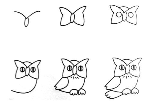 幼儿园简笔画 猫头鹰