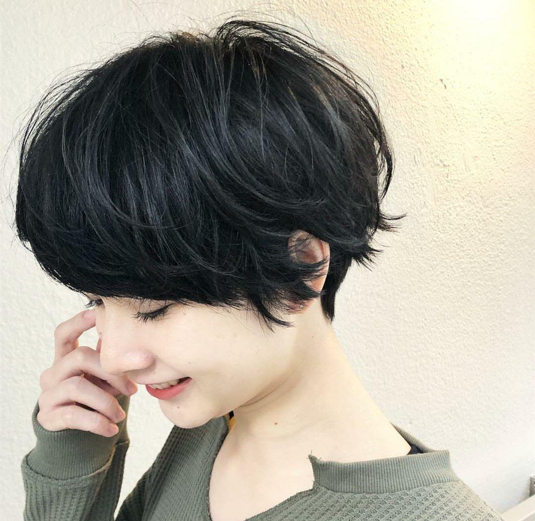 女人味露耳短发发型图片_发型图片_三联
