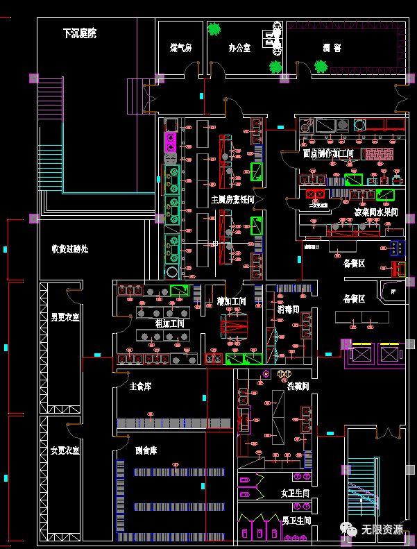 1022厨房平面大样cad源文件,含设备cad平面和地下厨房