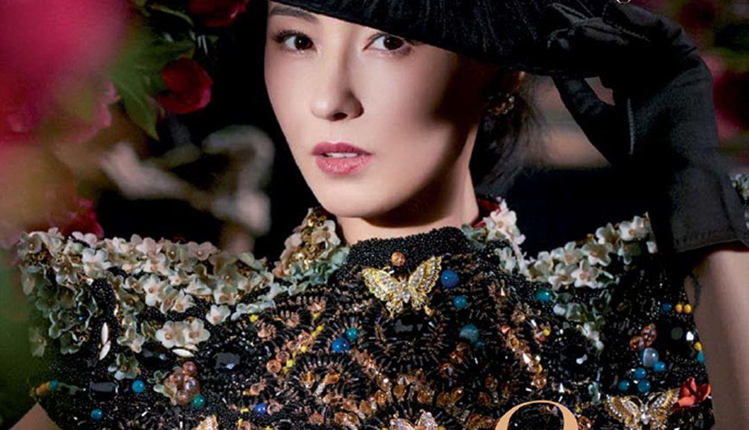 张柏芝晒杂志写真,黑色长裙妖气十足,女王范和公主范变换自如!