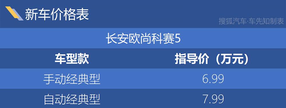 长安欧尚科赛5正式上市 售价6.99万起