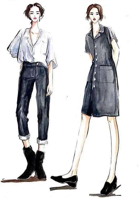 礼服裙设计图手绘铅笔