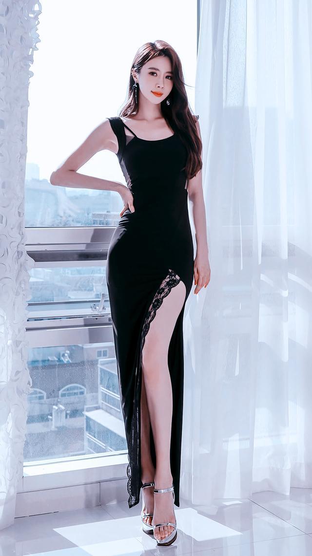 值得珍藏,超高清模特写真系列,黑色长裙典雅大气