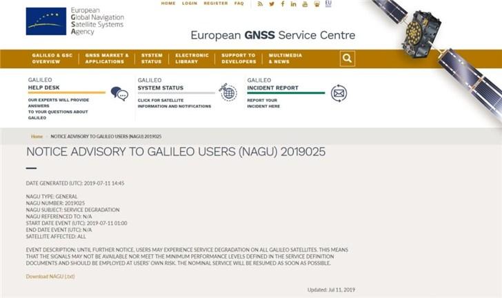 欧洲伽利略导航系统服务中断_卫星