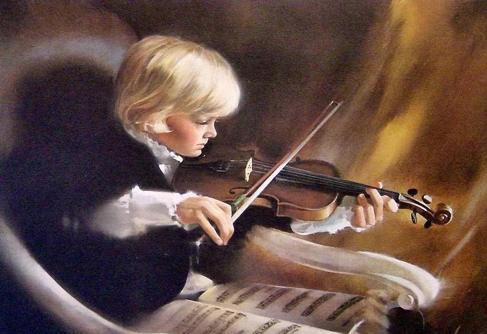 拉小提琴的男孩图片
