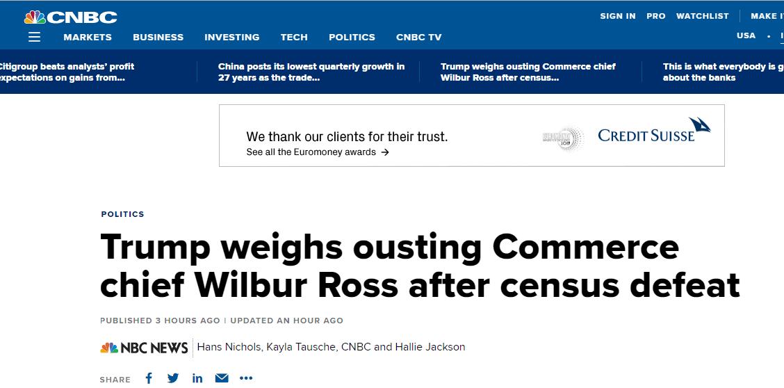 美媒:特朗普正考虑免除商务部长罗斯的职务,预计最快今夏离任