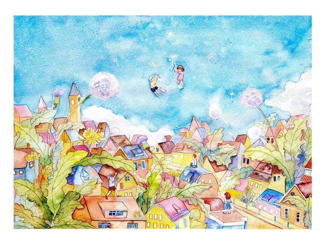 镜花水月,插画师用一支水彩笔画出一个梦想王国