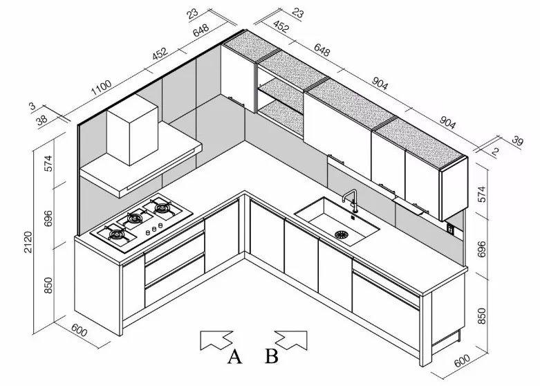 橱柜平面设计图带尺寸