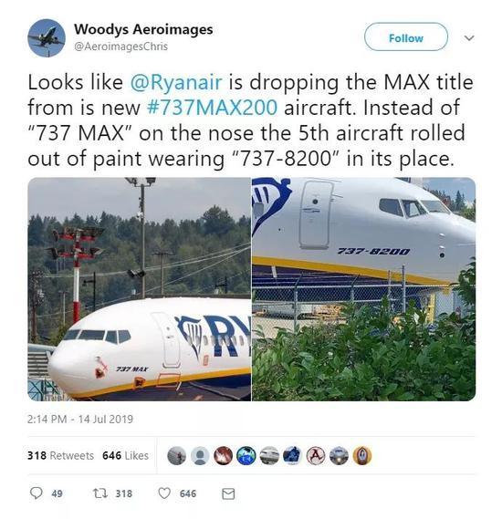 <b>什么操作?波音737MAX被强行改名:机头刷成8200</b>