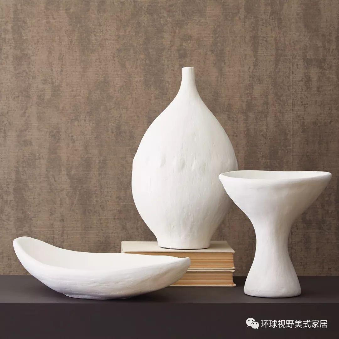 白色石膏现代浅碗/瓮/花瓶